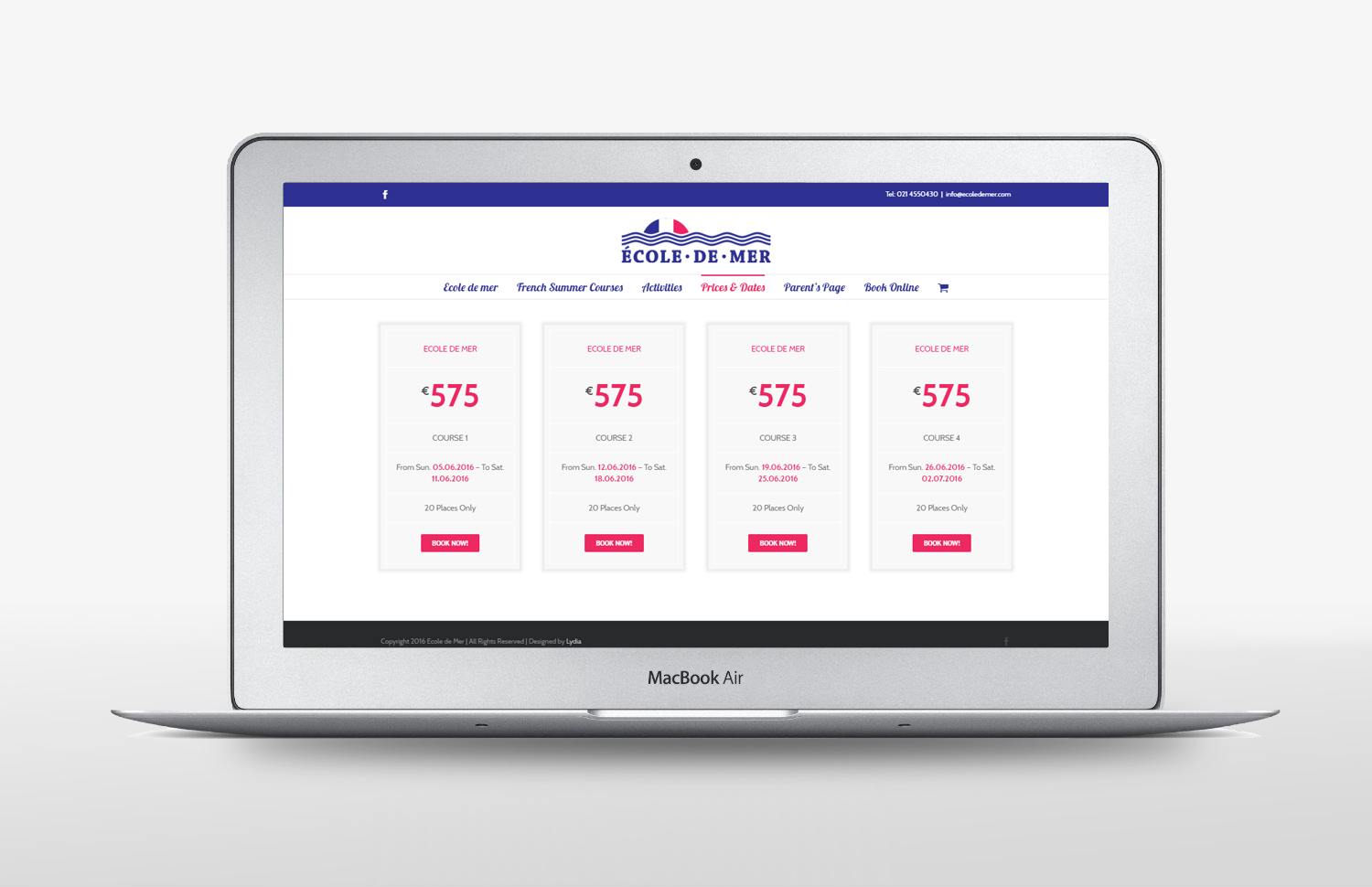 Ecole De Mer Website design prices page