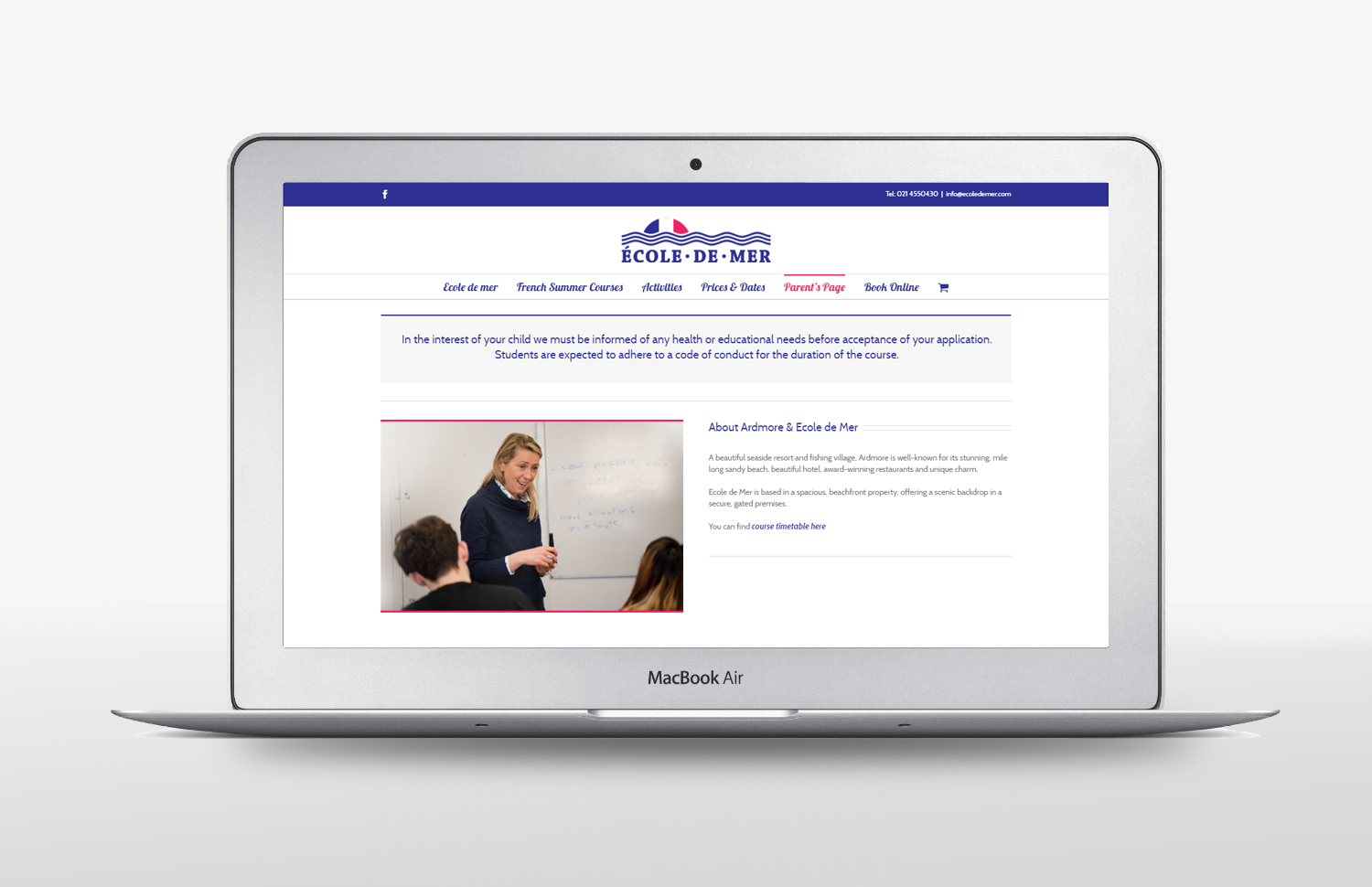 Ecole De Mer Website design parents page