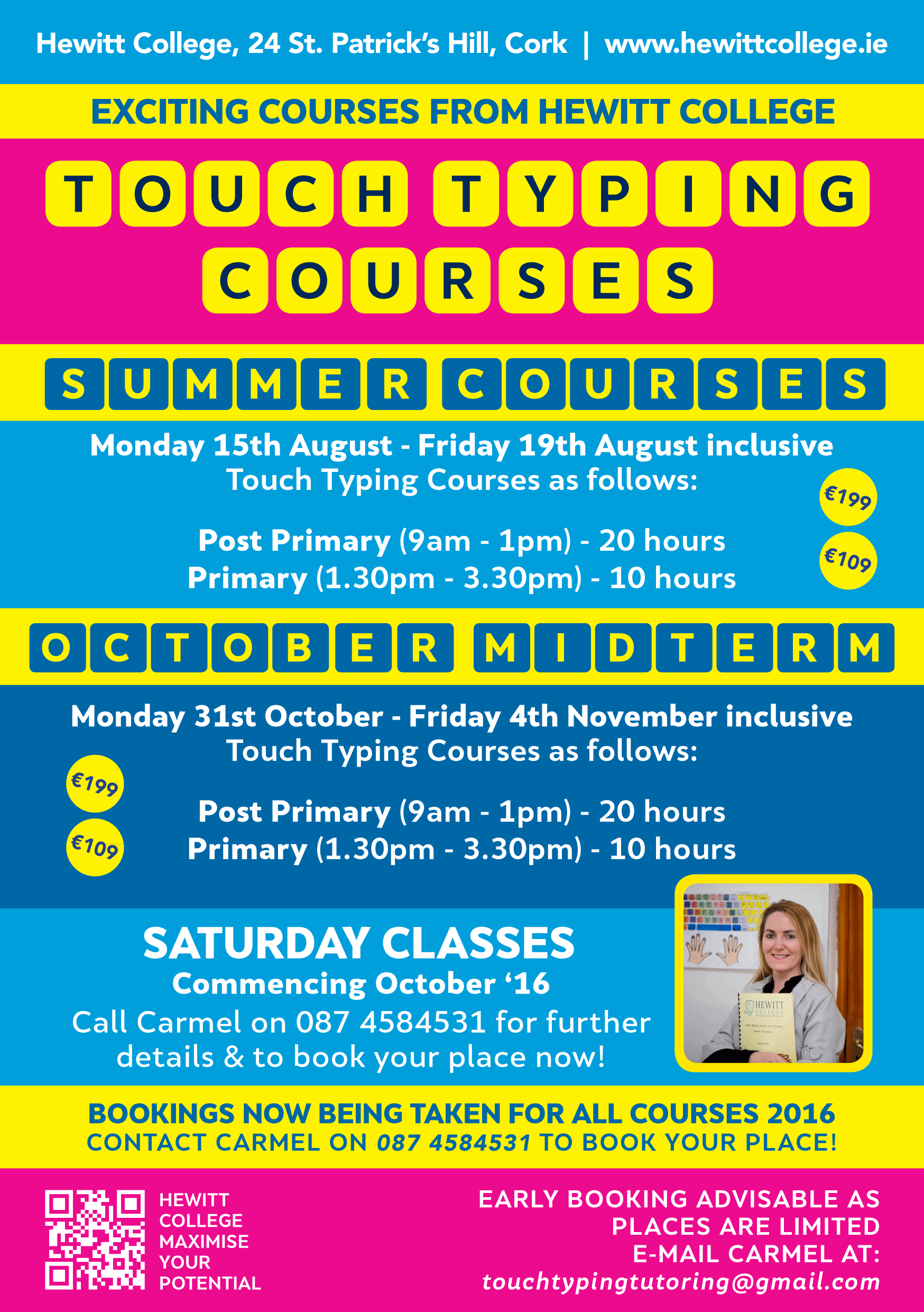Typing course advertising flyer design 2016